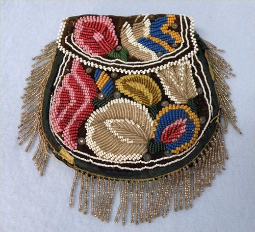 Antique Iroquois Native American Beaded Flat Bag Purse Floral Beadwork