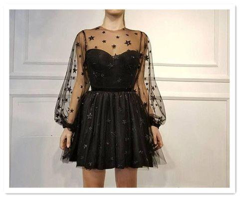Cute Black Homecoming Dresses,Stars Appliques Long Sleeves Short Homecoming Dres…  – Perfect