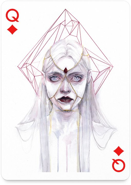 Queen of Diamonds by agnes-cecile - http://playingarts.com/cards/agnes-cecile/