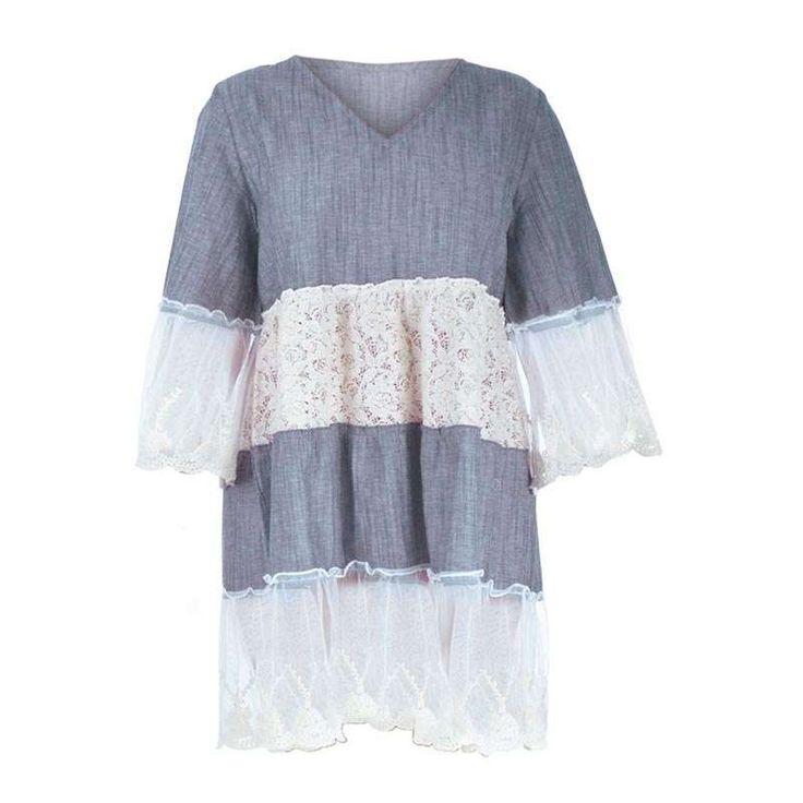 DRESS DENIM ONE SIZE (100% COTTON) - Skirts-Dresses - Clothes
