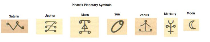 When reading the picatrix I was struck by the symbols for the planets' differing (for the most part--looking at you, moon)  from the astrological symbols I was accustomed to, I figured it was interesting enough to pin for more to see.