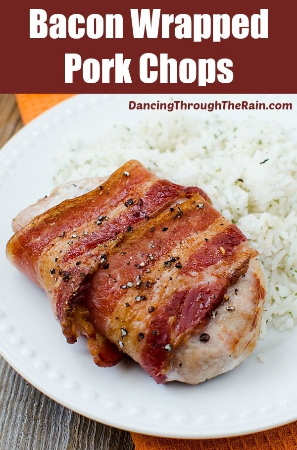 Bacon Wrapped Pork Chops - If you're looking for the best bacon wrapped pork chops recipe, you've found it! With only three ingredients, anyone can make this easy dinner!