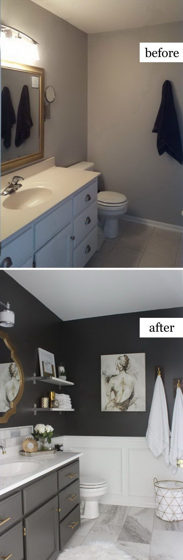 best 25 small bathroom makeovers ideas on pinterest. Black Bedroom Furniture Sets. Home Design Ideas
