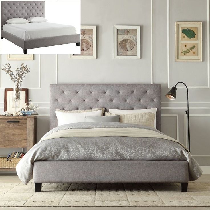 Queen Bed Frame Gray Asian Wood Furniture Adjustable Modern Bedroom Comfortable #QueenBedFrame #ModernContemporary