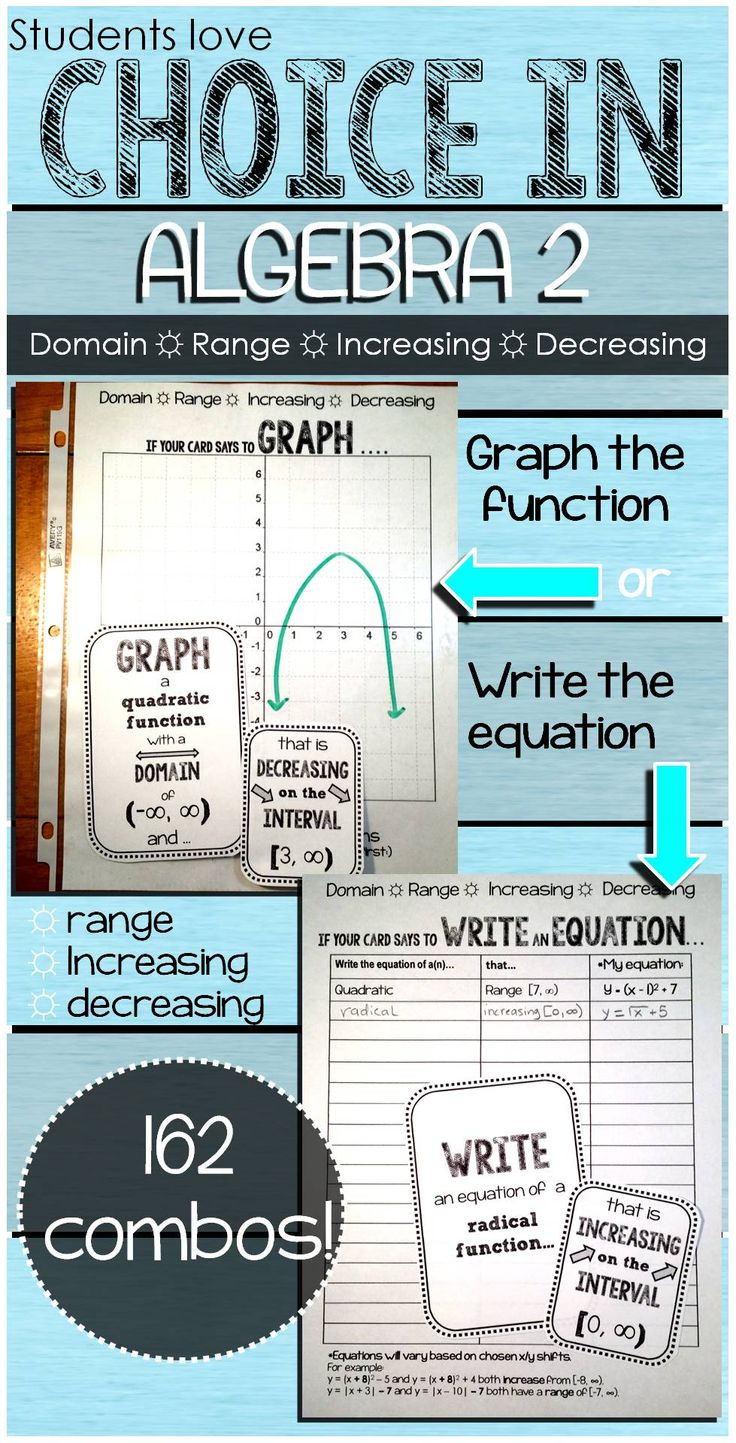 Algebra 2 students get to mix and match function cards (absolute value, radical and quadratic) with characteristic cards (range interval, increasing interval or decreasing interval) and then either graph or write the equation of the mix-match (based on the card's directions). There are 162 combinations! Each student in the group should complete each mix-match so that they can check each other.