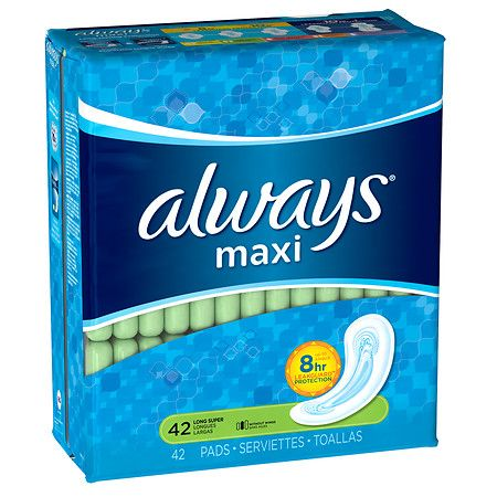 Always Maxi Pads without Wings Unscented, Long Super - 42 ea
