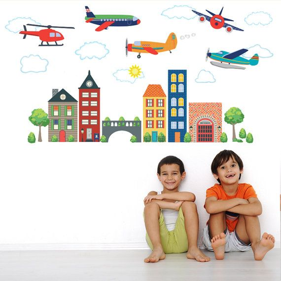 Wall Decals~Airplanes and Helicopters with Busy Town (made of self-adhesive fabric decal material, removable-reusable)