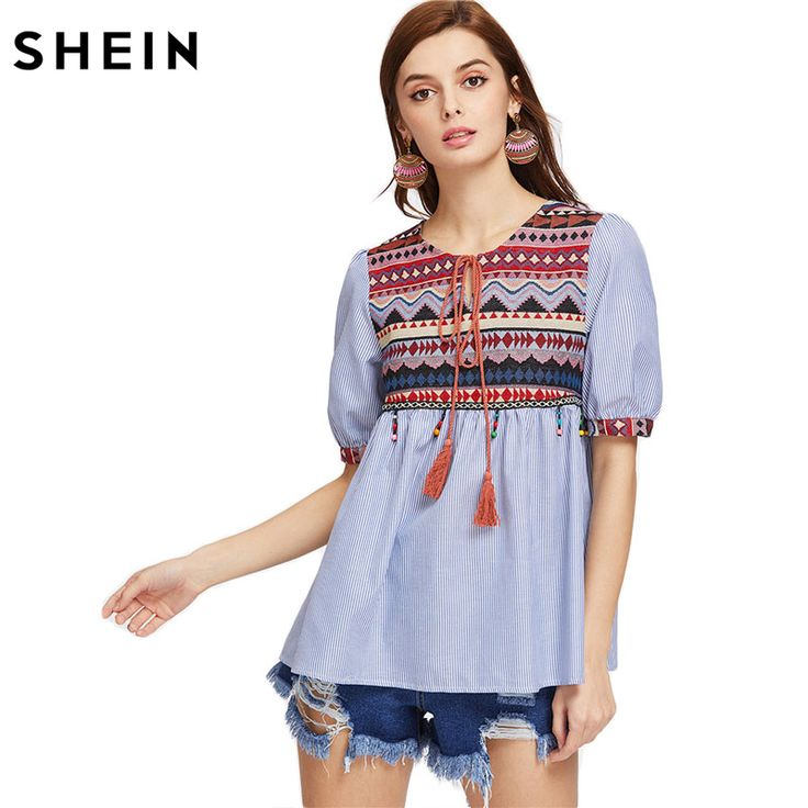 Aliexpress.com : Buy SHEIN Jacquard Yoke Tasseled Tie Beaded Fringe Trim Babydoll Top Blue Half Sleeve O Neck Print Shirt Summer Vintage Blouse from Reliable vintage blouse suppliers on SheIn Official Store