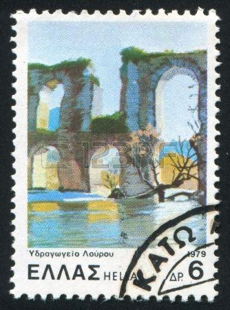 Louros Aqueduct, stamp printed by Greece, circa 1979