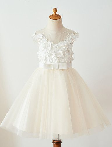 Ball Gown Knee Length Flower Girl Dress - Lace Tulle Sleeveless Jewel Neck with Laces Buttons Flower(s) Belt by Thstylee
