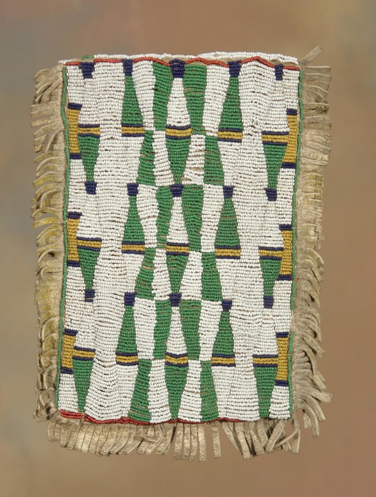 """Beaded Sioux mirror bag, 19th century (front) (1 of 2 images). 10"""" x 8"""". Fully beaded front with strip beaded back"""