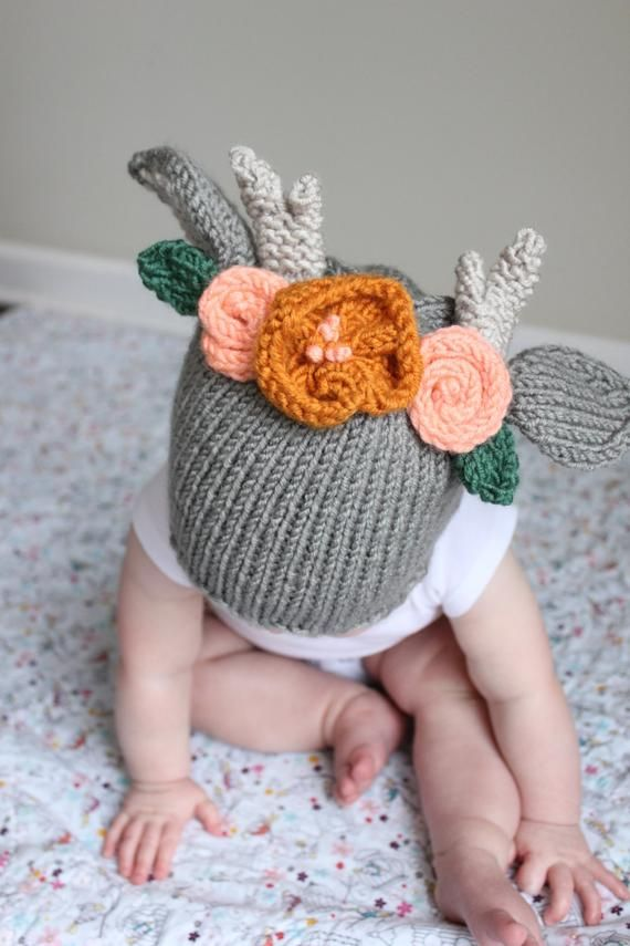 Deer Hat Baby Shower Gift Daddy and Me Hats- Deer Beanie Winter Hat in baby to adult sizes