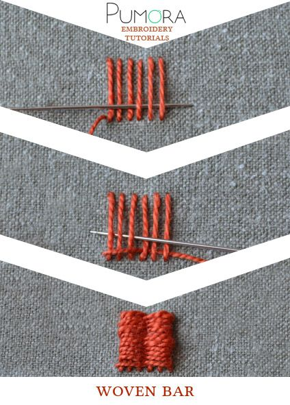 Pumora's embroidery stitch-lexicon: the woven bar                                                                                                                                                                                 Más