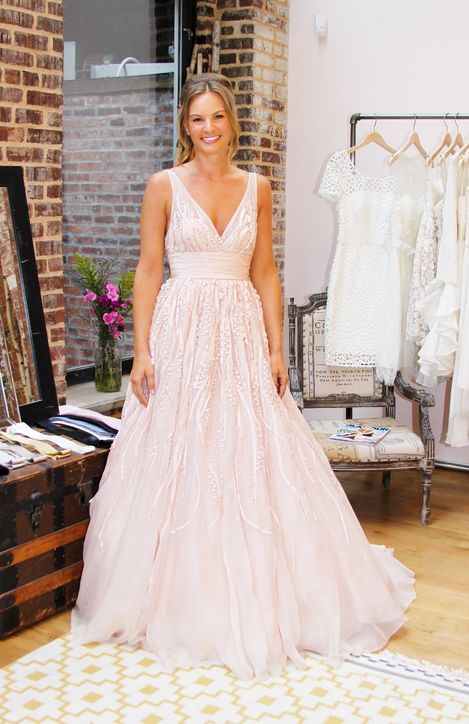 Watters Soledad Gown (Style 3092B) Whisper pink silk organza V-neckline with beading and silk taffeta design details on full skirt.