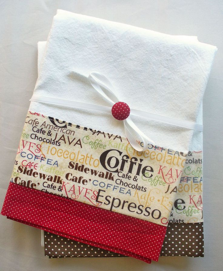 Kitchen towels with coffee and chocolate pattern cotton fabric in brown and red accent - set of two flour sack towels. $26.00, via Etsy.