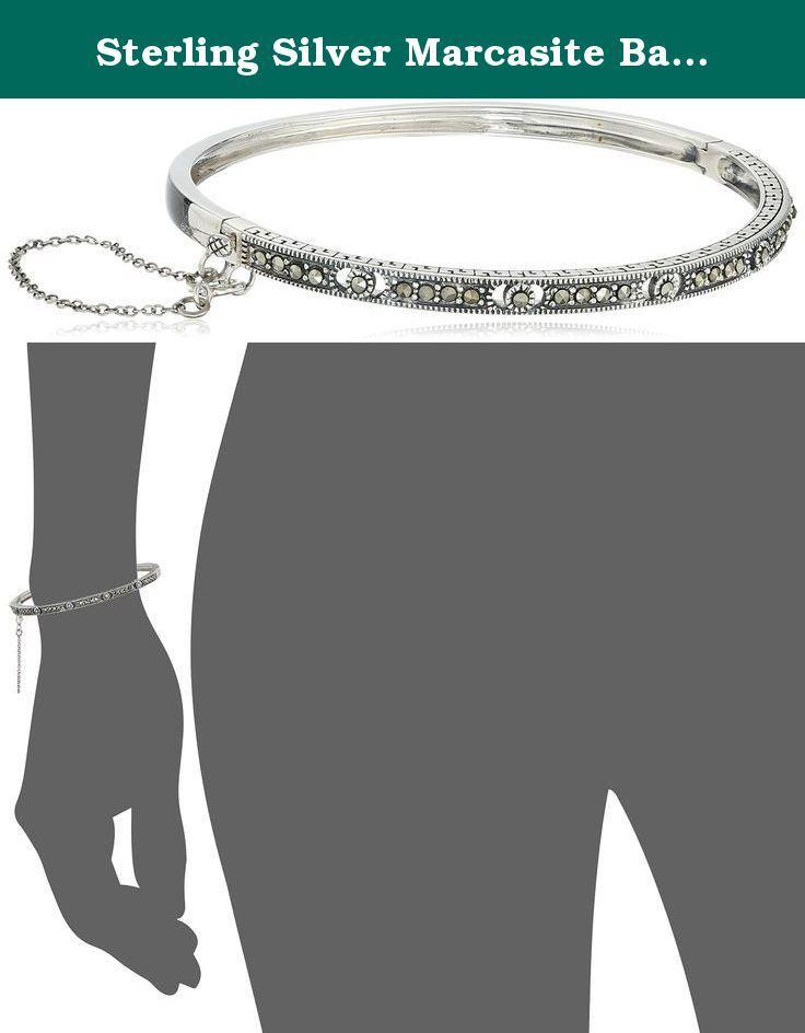 Sterling Silver Marcasite Bangle Bracelet. Imported.