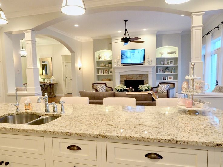 Open Concept Floor Plan White Kitchen Sherwin Williams