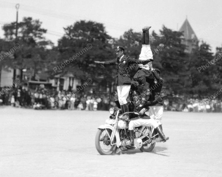 Police Motorcycle Stunt 1937 Vintage 8x10 Reprint Of Old