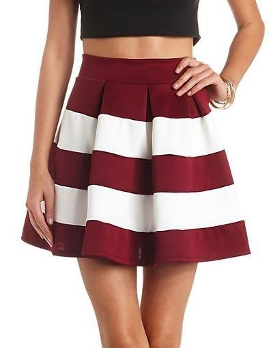 Color Block Striped High-waisted Skater Skirt - Wine Combo at Charlotte Russe - Trendslove