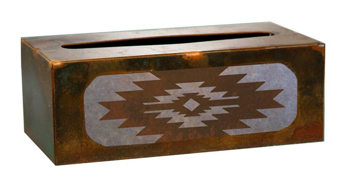 Desert Diamond Southwestern Metal Rectangle Tissue Box Cover for the Southwestern Decor style home can be used in the bathroom, living room, or den. american made western southwest bath,