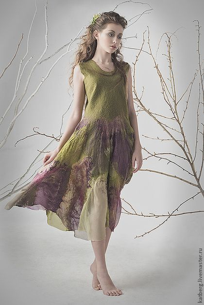 Платья ручной работы. Заказать Платье Сика. Katerina Kelberg. Ярмарка Мастеров. Болотный зеленый, ведьма, платье валяное, шелк