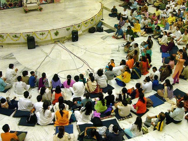 Satsang with Meditation I in VM at Art of Living Ashram, Bangalore