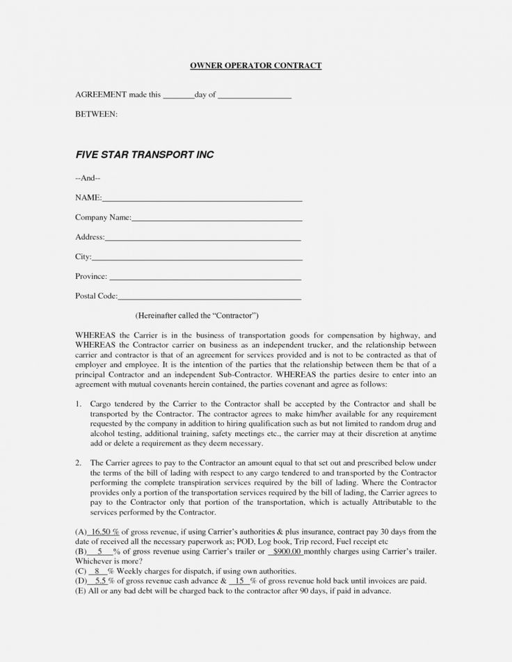 Owner Operator Driver Agreement in 2020 Contract