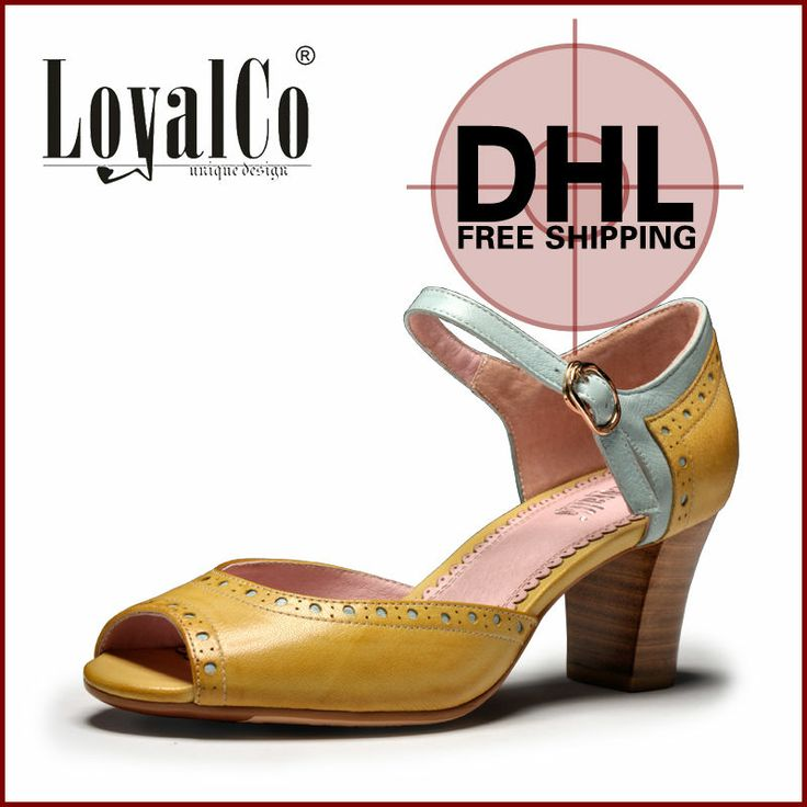 Women Peep-Toe Soft Genuine Leather Sandals Brand New Shoes BuckleHigh Heels Pumps 7cm Yellow Casual Shoes 2014  Summer