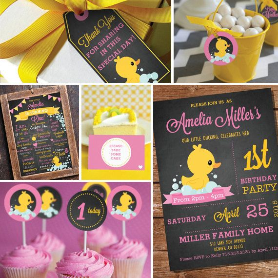 Chalkboard Rubber Duck Birthday Party Theme First Instant Editable File Personalize With Adobe Reader