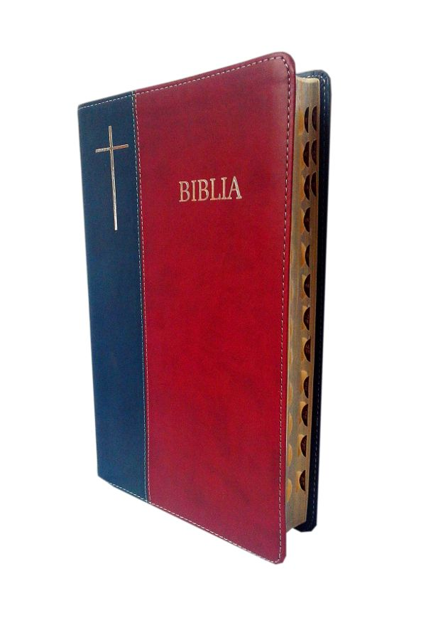 Biblia de lux, mare, coperta imitatie piele, bleumarin   visiniu, index, argintata, cuv. lui Isus cu rosu [SI 073 IP]