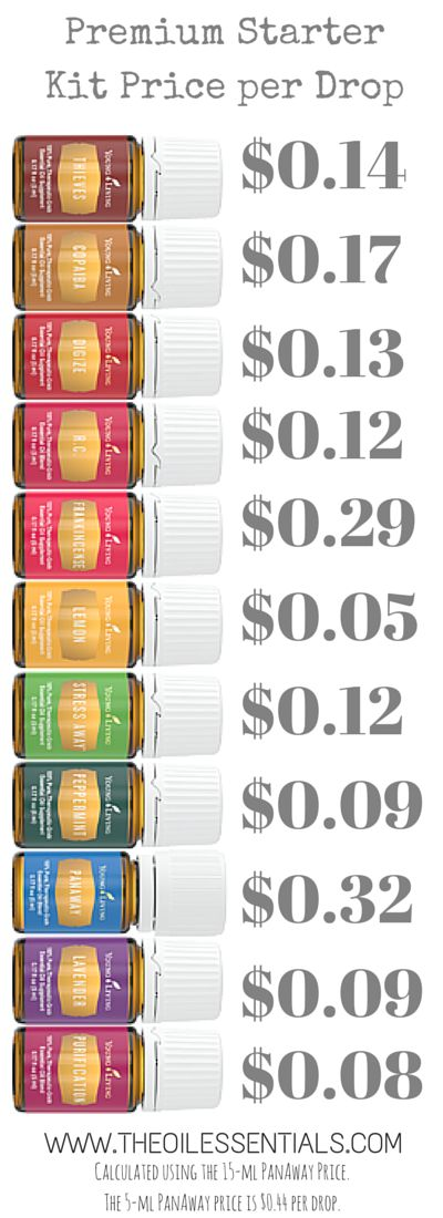 You use oils by the DROP. The new Premium Starter Kit price per drop. These oils are a great deal! www.youngliving.org/megamom9