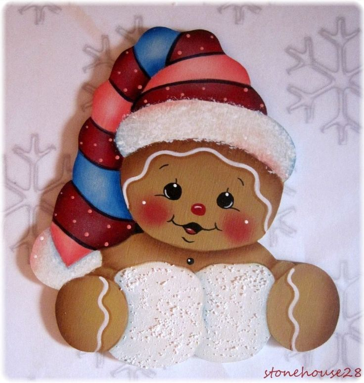 HP GINGERBREAD with Snowballs FRIDGE MAGNET #Handpainted