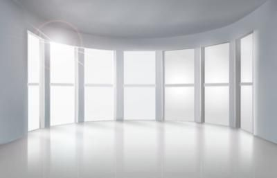 High quality vector illustration of an empty room interior. This whole room is white and has lots of big white windows. Beautiful use of shadows and reflection effects. This may not look like a vector but it is!