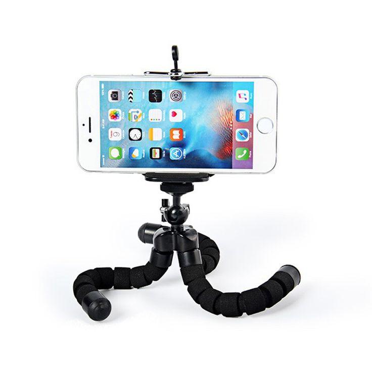 Hitam mini Kamera Telepon Pemegang Fleksibel Octopus Tripod fleksibel Bracket + Berdiri Pemegang Gunung Monopod Aksesoris