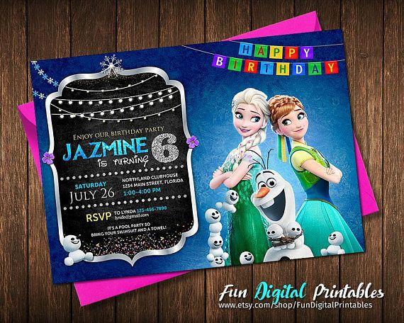 Frozen Invitation - Frozen Birthday Invitation - Disney Frozen Party Invites - Birthday Party Ideas Printable Elsa Anna Olaf