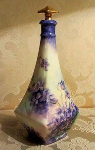 creativemuggle:    Antique Limoges Perfume Scent Bottle Hand Painted Violets Gold | eBay