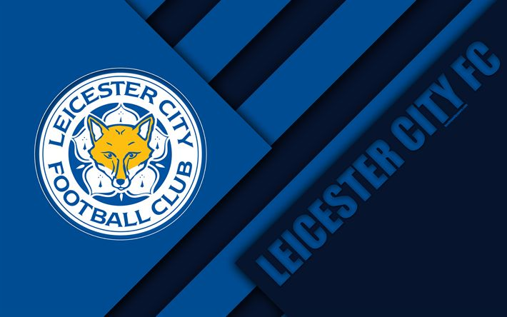 Download wallpapers Leicester City FC, logo, 4k, material design, blue abstraction, football, Leicester, England, UK, Premier League, English football club