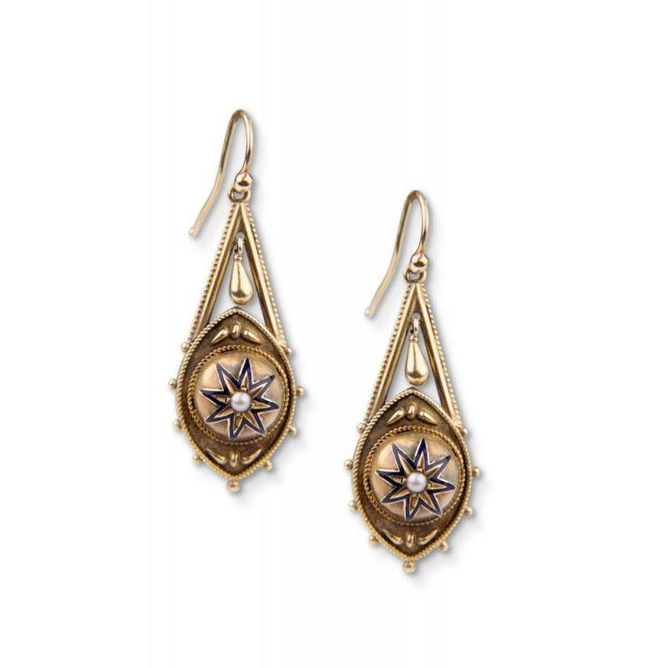 15ct Victorian Enamel And Pearl Drop Earrings