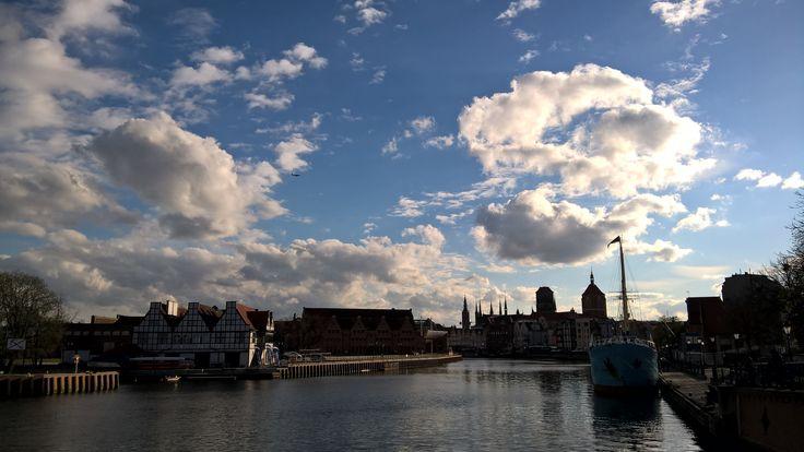 City, sky, clouds, airplane, Gdańsk