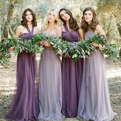 long bridesmaid dresses, convertible bridesmaid dresses, purple bridesmaid…