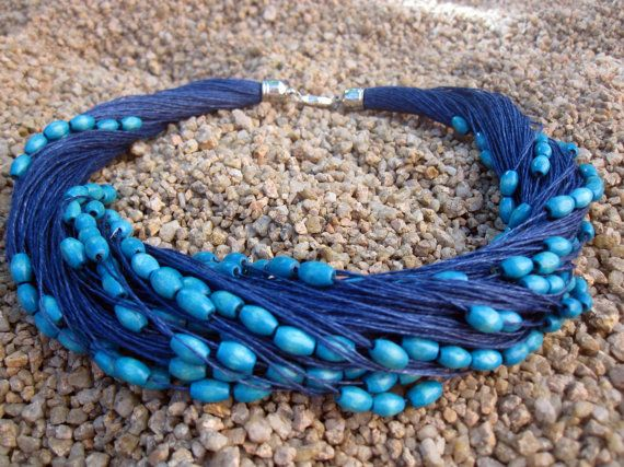Blue Wood Laquered Beads Necklace Blue Linen Natural  by espurna88, €20.99