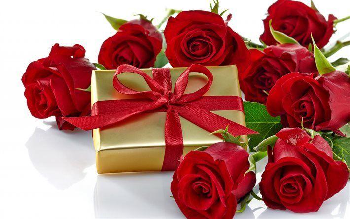 Scarica sfondi rose rosse, bouquet di rose, san Valentino, scatola regalo
