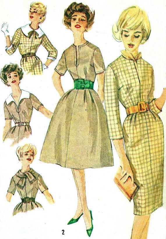 1950s Dress Pattern Simplicity 3153 Rockabilly Sheath or Flared Skirt Dress Womens Vintage Sewing Pattern Bust 34