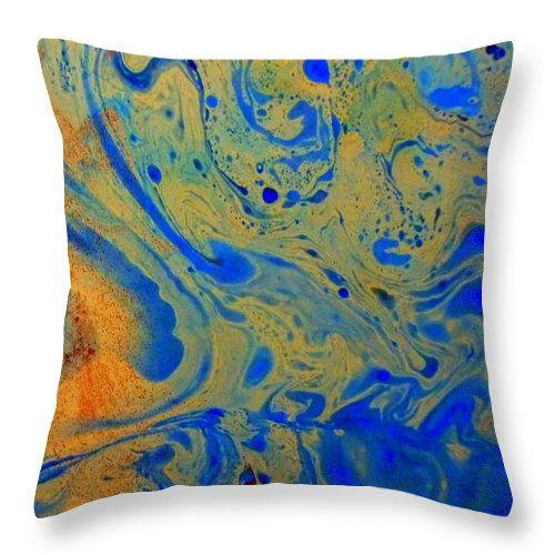 Marbling Throw Pillow featuring the painting Marbling - 3 by Angela Gannicott
