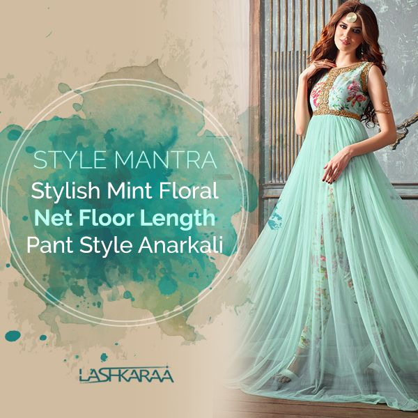 Stylish Mint floral Net Floor Length Pant Style Anarkali Features a net fabric flair anarkali top, santoon inner and pure crepe pant style bottom along side with chiffon dupatta. Zari Embroidery and stone embellishment are present on neck.