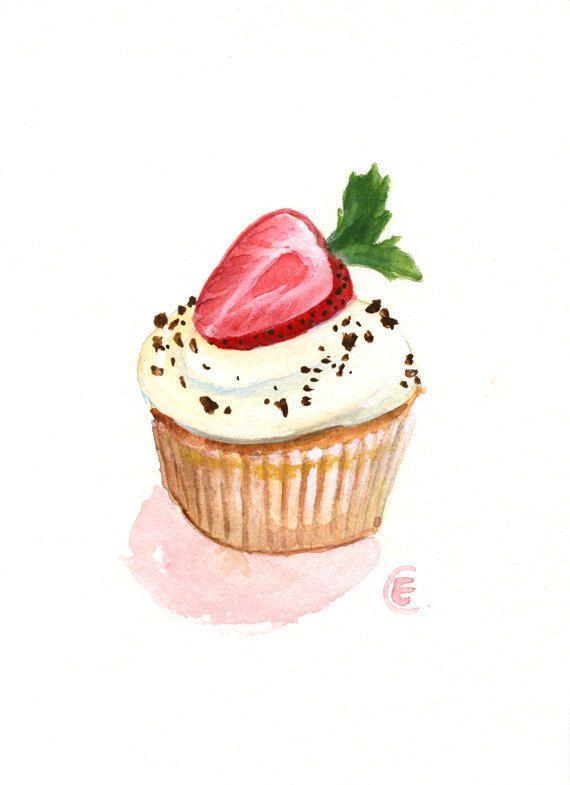 watercolor cupcake paintings   Cupcake 22 Original Watercolor Painting 7x5 by FleurDeParis