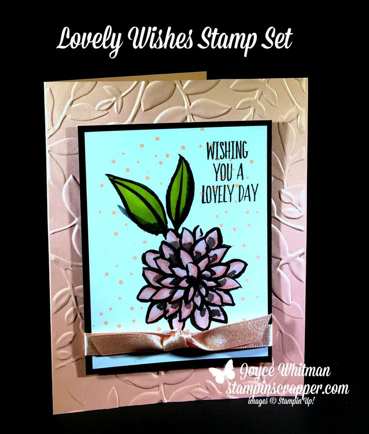 CASEing Tuesday #138!  Lovely Wishes meets Petal Passion Memories and More card pack from Stampin' Up! 2018 Occasions catalog.  I also used the Layered Leaves embossing folder with the Powder Pink Shimmer Ribbon.  To color the flowers I used the Blends markers
