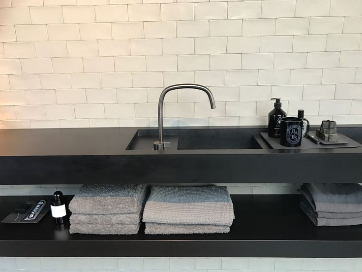 Piet Boon® by COCOON awarded  deck mounted tap in Brushed Stainless Steel | new washbasin in Black Corian designed by Piet Boon | available via our website bycocoon.com | bathroom design | kitchen design | luxury design | Dutch Designer Brand COCOON