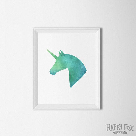 Lámina de unicornio, arte imprimible, arte de pared de unicornio, Recibidores de impresión, verde, unicornio de caballo grabado, acuarela, vivero decoración, arte acuarela