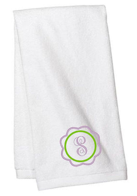 Monogram Hand Towel, Hand Towels, Monogrammed Towels, Flower Monogram, Bathroom, Personalized Towels, Monogram Towel, Embroidered Towels
